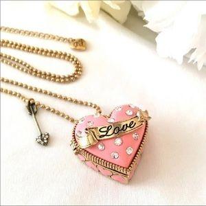Betsey Johnson Heart Love Locket Necklace NWT